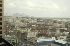 New Orleans view of the city, bridge from a skyscraper - stock footage