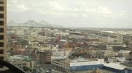New Orleans view of the city, bridge from a skyscraper Stock Footage