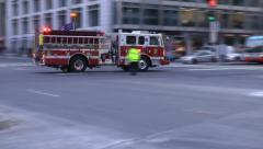 Fire truck downtown DC response Stock Footage