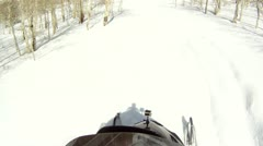 Snowmobile helmet cam mountain forest P HD 0027 Stock Footage