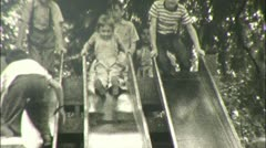 KIDS PLAY Fun on Slide PLAYGROUND Sliding 1940s Vintage Film Home Movie 114 Stock Footage