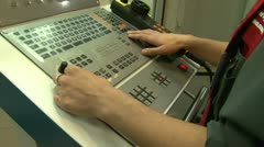 Hands and industrial control Stock Footage