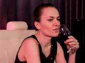 Stock Video Footage of Young attractive woman drinking wine in nightclub, steadicam shot NTSC