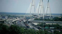 modern cable-stayed bridge - stock footage