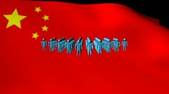 Group of abstract people moving and Chinese flag animation Stock Footage