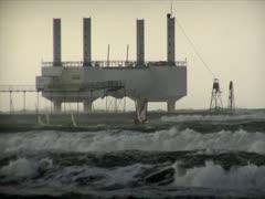 Wave Energy Windsurfers - stock footage