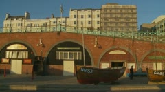 Fishing boat in English seaside (glidecam four) Stock Footage
