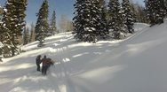 Snowmobile stuck on mountain fast P HD 0004 Stock Footage