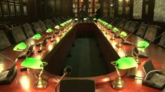 A conference table with lamps Stock Footage