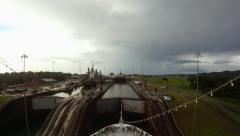 A ship passing through the Gatun Locks in the Panama Canal Stock Footage
