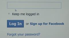 Facebook login page, Password enter. internet browsing Stock Footage