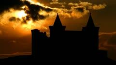 Portugal Castle of Porto de Mos sungliding - stock footage
