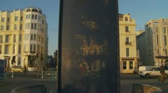 Kiss Wall in Brighton (glidecam) Stock Footage