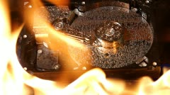 Hard disk on fire Stock Footage