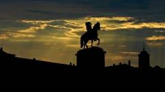 Portugal Ducal Palace in Vila Vicosa sunbeams Stock Footage