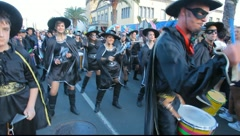 Carnival time! Drummers in the street Stock Footage