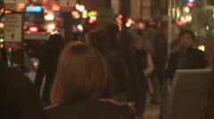 Street Night Crowd Stock Footage