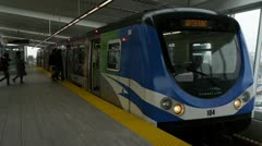 Skytrain Departs From Vancouver International Airport Stock Footage