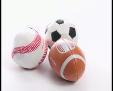 Fuzzy sport balls - PAL - stock footage