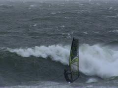 Windsurfer crashes into Wave Stock Footage