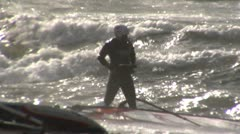 Windsurfer in Shorebreak - Baltic Sea - stock footage