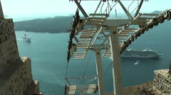 Cable car going down to Santorini port Stock Footage
