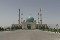 Turkmenistan Ashgabat Geok-Tepe mosque zooms Stock Footage