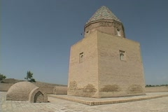 Turkmenistan Konye-Urgench Il Arslan mausoleum Stock Footage