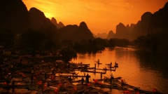 Yangshuo, China Sunset III Stock Footage