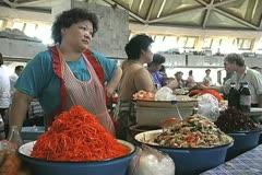 Uzbekistan Tashkent market selling food Stock Footage