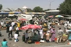 Uzbekistan Tashkent market outdoors Stock Footage