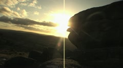 Dartmoor Hiker Walks Towards Sunset HD Stock Footage