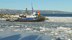 Tugboat Redoubt Leaving Icy Harbor 2 Stock Footage