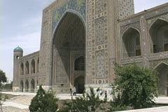 Uzbekistan Samarkand building at the Registan Stock Footage