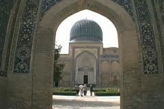 Uzbekistan Samarkand Gur-i Mir Timur's tomb Stock Footage