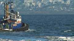 Tugboat Redoubt Leaving Icy Harbor 3a Stock Footage