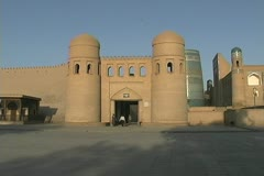 Uzbekistan Khiva city gate and wall Stock Footage