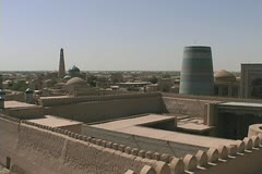 Uzbekistan Khiva view over fortifications Stock Footage