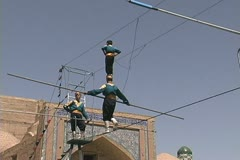 Uzbekistan Khiva walking high wire Stock Footage