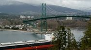 Stock Video Footage of Ship Under Lions Gate Bridge From Prospect Point