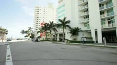 Pan footage of buildings at Brickell Bay Drive in Miami Stock Footage
