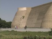 Stock Video Footage of Uzbekistan Bukhara Ark rounded comb top walls