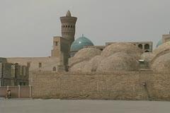Uzbekistan Bukhara Po-i Kalyan domed baths Stock Footage