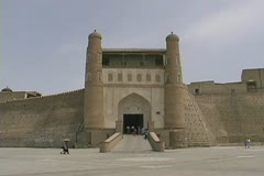 Uzbekistan Bukhara entrance to the Ark Stock Footage
