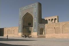 Uzbekistan Bukhara Kalyan Mosque facade Stock Footage