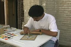 Uzbekistan Bukhara man painting picture Stock Footage