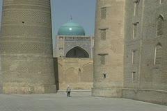 Uzbekistan Bukhara man in Po-i Kalyan complex Stock Footage