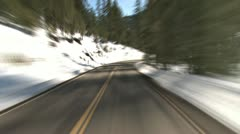 POV Timelapse Driving Through Snowy Sunny Mountains -very fast Stock Footage