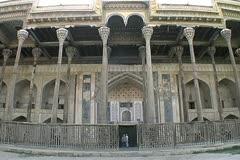 Uzbekistan Bukhara mosque with slender pillars Stock Footage