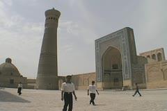 Uzbekistan Bukhara Po-i-Kalyan with pillar minaret Stock Footage